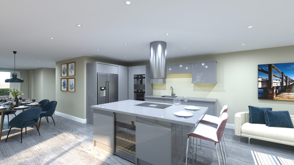 The Bay Chalkwell Kitchen and Living Area